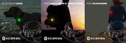 Scarab Beacon for dogs, walkers and trekkers, for runners